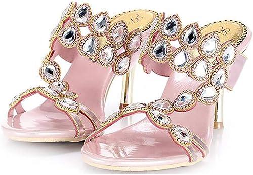 Unbekannt Sexy Femme été Diamant Luxe Creux Strass Mariage Chaussures Sandales Chaussons