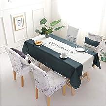 GUOCU Mantel de Algodón de Lino Rectangular Mantel de Mesa Impermeable Antimanchas Decoración para Cocina Comedor Fiesta Mantel Silla Juego de Tela Carta Verde Seis Fundas para sillas