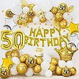 50 Compleanno Decorazioni per donne uomini, HAPPY BIRTHDAY 50 palloncini foil, palloncini oro bianco metallizzato, palloncini coriandoli oro, palloncini stella, stendardo stella d'oro, cake topper