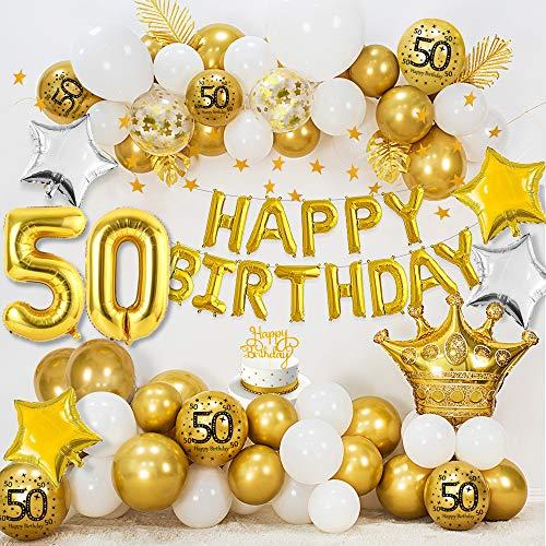 50 Cumpleaños Decoraciones para mujeres hombres, HAPPY BIRTHDAY 50 Globos Foil, Globos oro blanco metálico, Globos confeti oro, Globos estrella, Bandera del empavesado estrellas oro, Adorno de torta