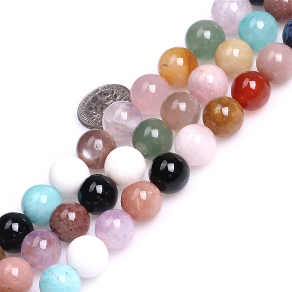 Multicolored Mixed Stone Beads for Jewelry Making Natural Semi Precious Gemstone 12mm Round Strand 15