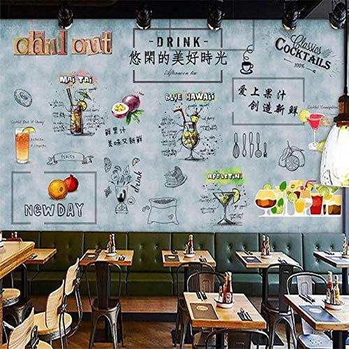 DZBHSCL 4D Behang muurschilderingen, creatieve passie fruit drinken letters grote kunstdruk wallpaper poster voor sap drinken bar koude drank winkel winkel achtergrond decor 120in×200in 300cm(H)×500cm(W)