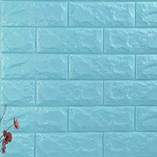 LZYMLG 3D Brick Wallpaper Peel and Stick Wall Panel Living Room Stickers Bedroom Kids Room Brick Self Adhesive Wall Papers Home Decor Light Blue 1PCS70X77CM
