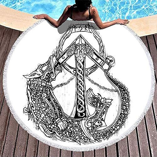 Nazi Mie Casco Vikingo nórdico Guerrero Casco Dragón Dibujado Obra Redonda Toalla de Playa Manta Linda de Playa