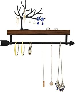 MyGift Wall Mounted Rustic Burnt Wood and Black Metal Tree Cutout Design Jewelry Display Organizer Rack with Arrow Style H...