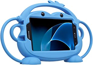 CHINFAI Kids Case for Samsung Galaxy Tab 3/3 Lite/4/E Lite 7.0 inch Tablet [Double-Faced Monkey Series] Shock Proof Handle Stand Protective Cover Compatible with Model P3200 SM-T230 SM-T113 (Blue)