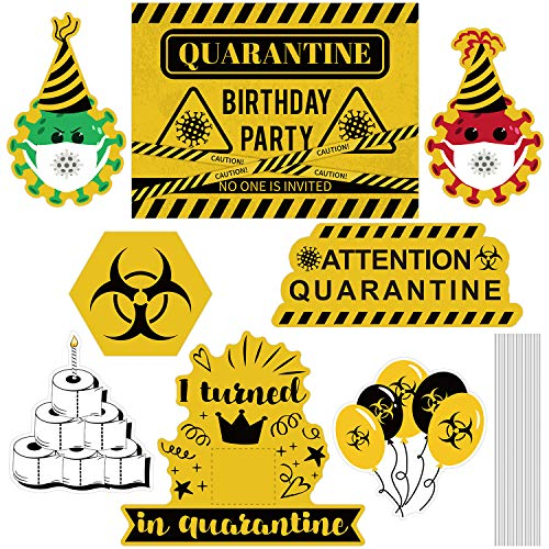 URATOT 8 Pack Happy Quarantine Birthday Yard Sign, It's My Birthday Yard Sign with Stakes for Quarantine Birthday Yard and Outdoor Social Distancing Party Decorations