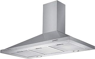 CIARRA Campana CBCS9301 extractora Cocina Pared Versión Mejorada 100W 90cm 550 m³/h Luz LED y 3 Velocidades Teclas Filtro de Grasa Acero, Inoxidable Color plata