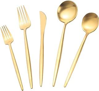 Deacory Flatware Set Cutlery Set Stainless Steel Matte Gold 5 Piece Set Wedding Housewarming Event Party Service for 1