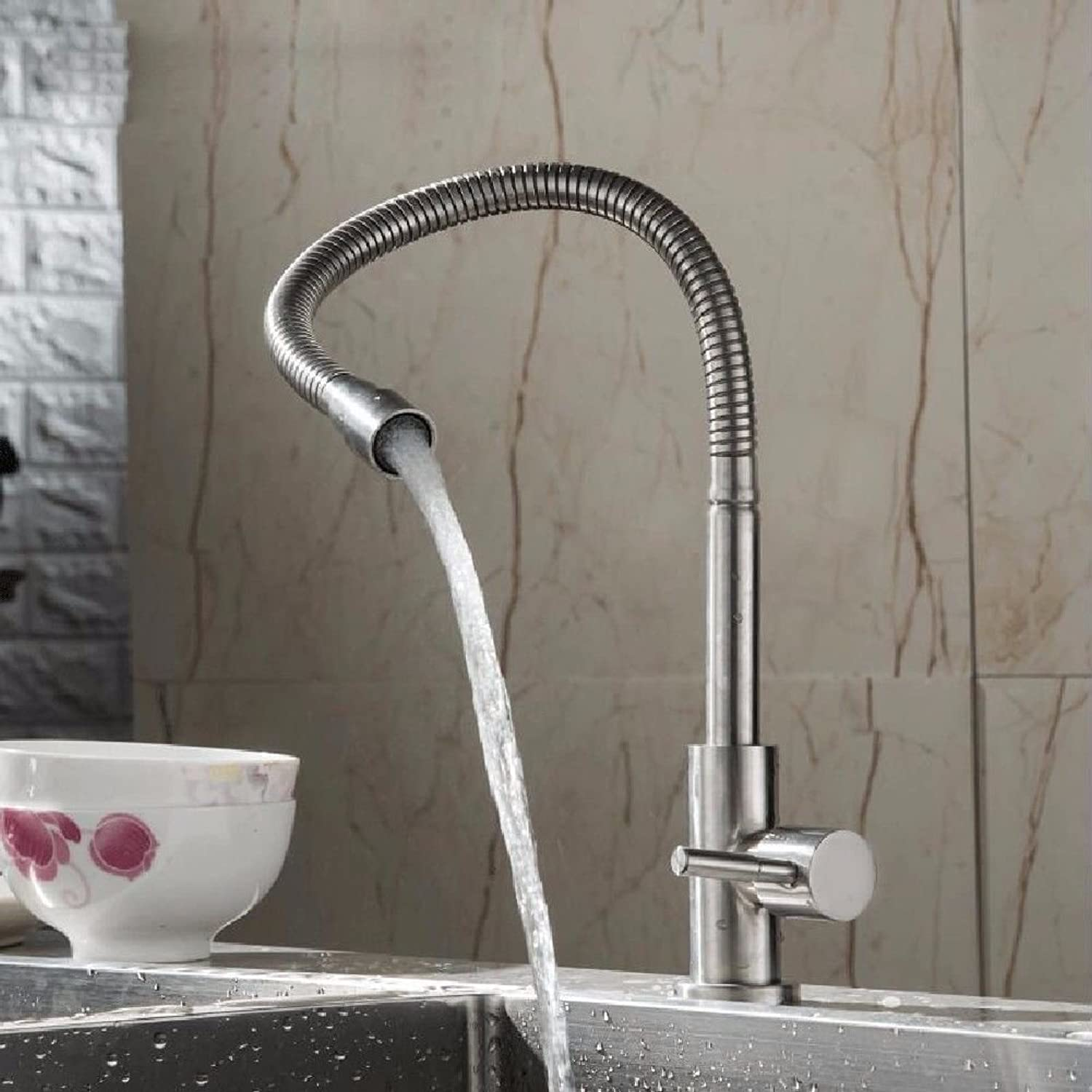 Commercial Single Lever Pull Down Kitchen Sink Faucet Brass Constructed Polished 304 Stainless Steel Single Cold Wall-Mounted Kitchen Faucet