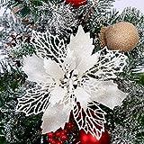 Queta 12 Stück Christmas Glitter Poinsettia Weihnachtsbaum Ornament Weihnachtsblumen künstliche Blumen Christbaumschmuck Weihnachten Hochzeit Kränze Dekoration 16cm (Weiß)