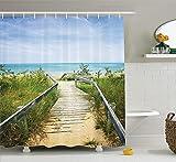 AdaCrazy Boardwalk über Dünen am Strand & Provincial Park Ontario Kanada Urlaub Bild Seaside Decor Collection Polyester Bad Duschvorhang Set mit Haken grüne Elfenbein