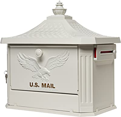 Gibraltar Mailboxes Hamilton Large Capacity Cast Aluminum White Post Mount Mailbox Hm200w00 Home Improvement