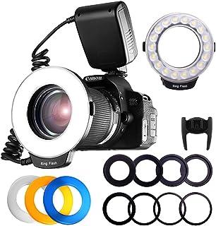 FOSITAN RF-600D 18 LED Anillo Flash Macro Pantalla LCD para Canon Nikon Sony MI Hotshoe Olympus Panasonic Pentax con 8 Anillos Adaptador 4 Flash Diffusers