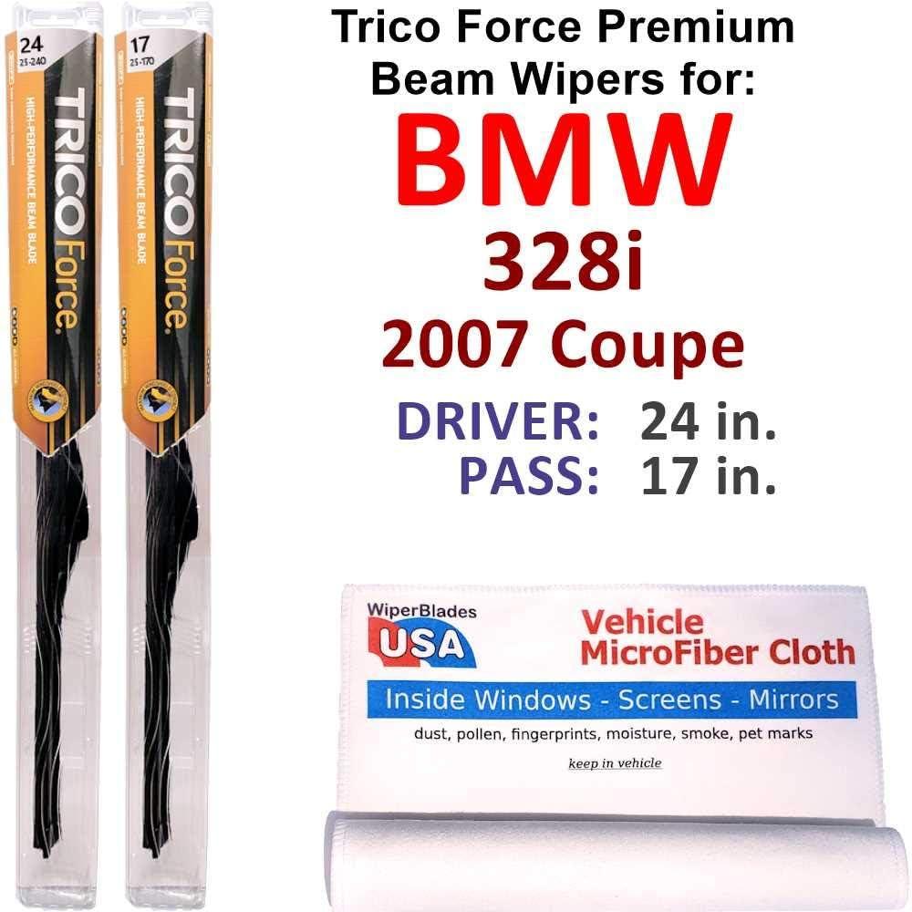 Premium Beam Wiper Blades for 2007 初売り Coupe 公式サイト Forc BMW 328i Trico Set