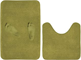 Super Soft Memory Foam Toilet Rug Set Microfiber Bathmats Quick Dry Non-Slip Bathroom Rugs Set Curved Design for Extra Abs...