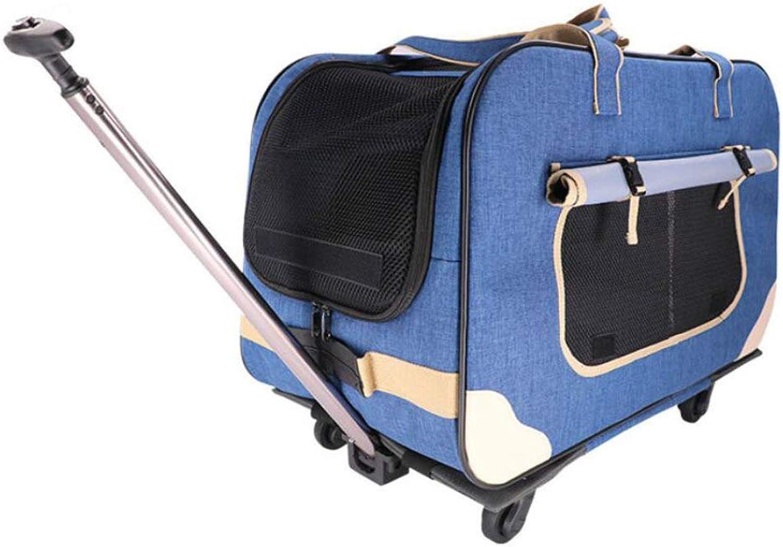CYCWT Fourwheeled Pet Trolley Pet Bag Dog Cart Foldable Disassembled Multiple Pet Trolley Bag,bluee