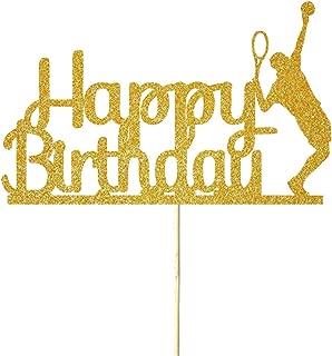 NN-BH Golden Flash Happy Birthday Cake Topper, Birthday Party Cake Decoration, Sports Theme Cake Topper (tennis)
