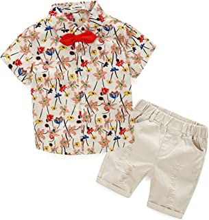 Hywer Baby Boy Casual Clothing Set Beige Green Print Button-Down Shirt Short Sleeve+White Pants