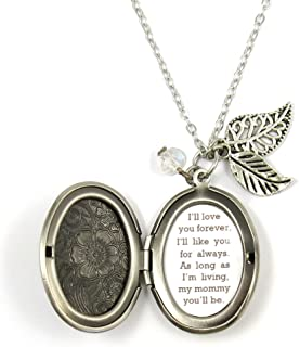 Always My Mommy Mother Necklace I'll Love You Forever Quote Locket Necklace Leaf Flowers Locket Necklace