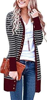 Zlolia Women's Striped Knit Long Sleeve Midi Cardigan Button Casual Jacket Ladies Autumn-Winter Casual Loose Coat