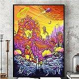 Pintura de pster, Rick y Morty Temporada 3 Cartel de seda Cuadro en la pared Impresin de cartel Tela de seda Colorido Show televisivo regalo 16'X24'