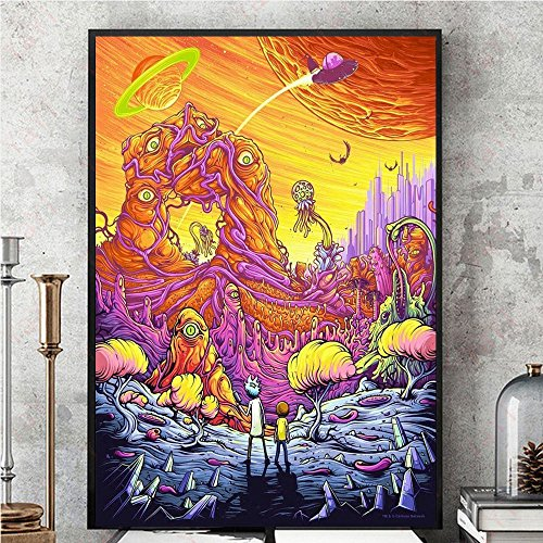 Wall Art Decor Poster Artworks, Rick And Morty Season 3 Silk Poster Immagine per parete Pittura Colorful Silk Cloth Home Art