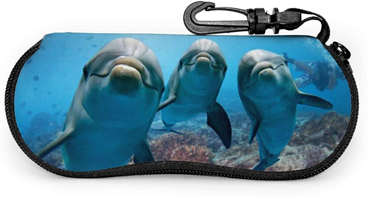 Ocean Animal Funny Dolphin Looking At You Glasses Case Unisex Eyeglasses Protective Case Zipper Eyeglass Box With Key Chain Universal Fits