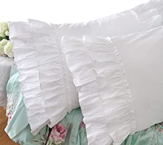 Queen's House Vintage Ruffle Pillow Sham White Pillowcase King Size-1 Piece,Z