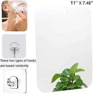 XoYo-Large Fogless Shower Mirror (11inX7.48in), Includes 1 Adhesive Hooks, Anit-Fog Shower Mirror, shower makeup shave mirror, Frameless Shower Mirror, Wall Hanging Mirror (Large, 1 Pack)