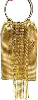 FengheYQ Women's Diamond Tassel Ring Bag Handbag Banquet Evening Package Bride Bridesmaid Dress Gift Party Shiny Clutch Bag Size: 11 * 17cm (Color : Gold)