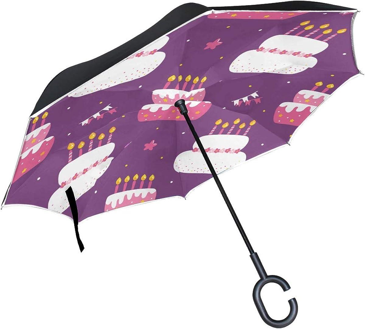 Inverted Price reduction Ranking TOP20 Umbrella Birthday Pattern Cakes Windproof reve