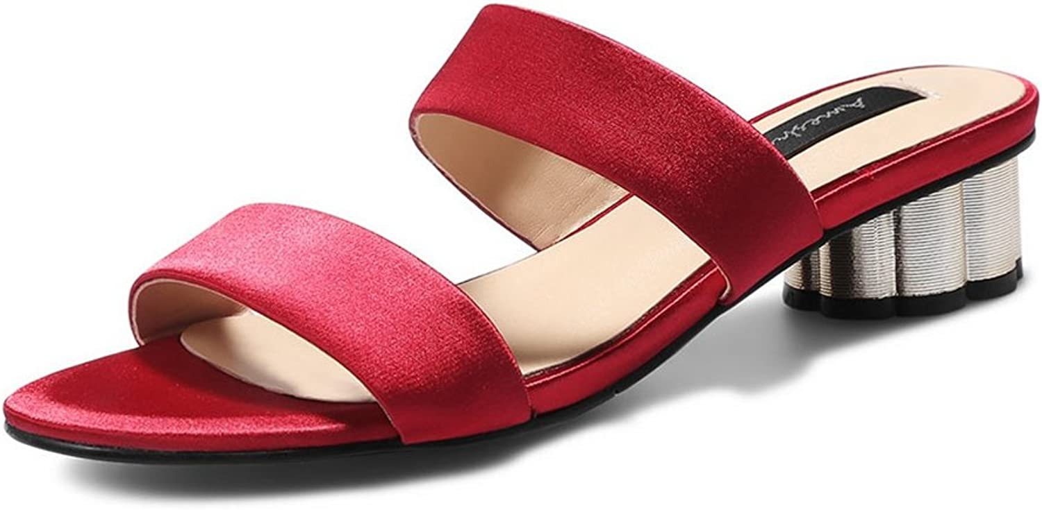 GIY Women's Open Toe Block Heel Slippers Summer Chunky Slide Casual Mules Heeled Sandals Mules shoes