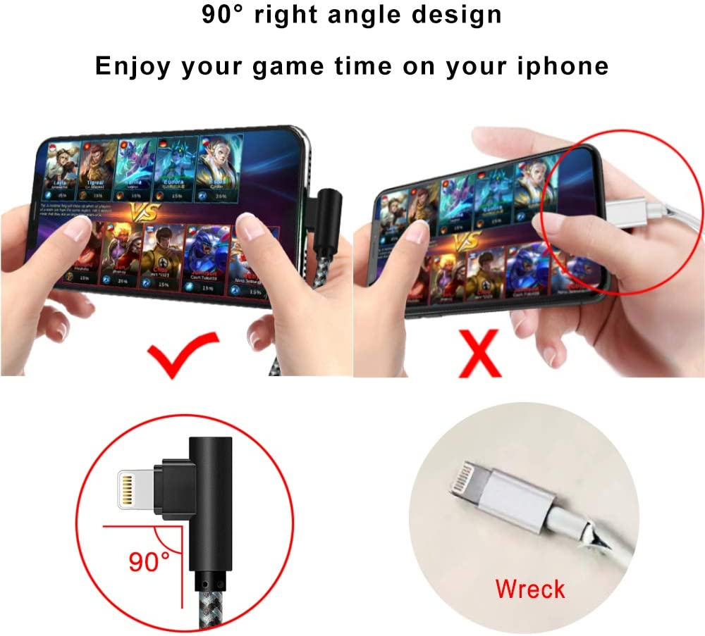 MFI Certified Lightning Cable iPhone Charger Cable 90 Degree Right Angle 5Pack 3/3/6/6/10ft Fast Game Metal Long USB Cord iPhone 12/11/Pro/Max/X/XS/XR/XS/8/7/Plus/6/6S/SE-BlackGrey