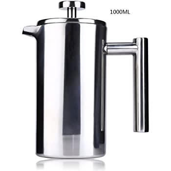 Rust-Free Coffee//Tea Maker: 18//10 Stainless Steel Dishwasher Safe French Press Double Wall Stainless Steel Mirror Finish 1L//34oz.