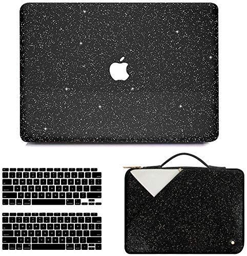 Anban MacBook Air 13 Inch Case 2021 2020 2019 2018 Release A2337 M1 A2179 A1932, Glitter Bling Smooth Protective Case & Glitter Laptop Sleeve & Keyboard Cover Compatible with Mac Air 2020 M1 Touch ID