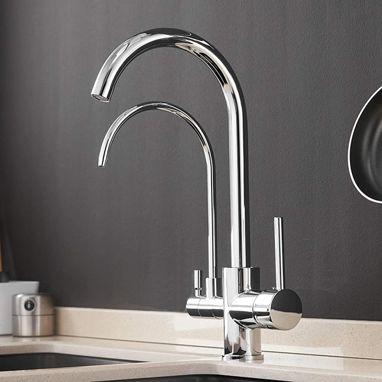FZHLR Filter Kitchen Faucets Water Purification Features Mixer Tap Crane Pure Water, Cold Water and hot Water 3 in 1 Faucet,Chrome