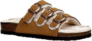 CUSHIONAIRE Women's Lela Cozy Cork Footbed Sandal with Faux Fur Lining and +Comfort - Wide Widths Available
