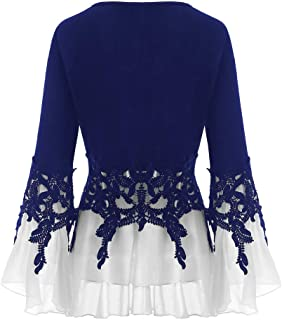 Women's V-Neck Casual Shirt,Ladies Chiffon Long Sleeve Flowy Plus Size Bell Sleeve Blouse Dress Loose Tunic Top