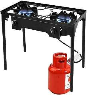 Giantex Outdoor 2 Burner Stove High Pressure Camping Picnic Burner Stand 150,000 BTU with 0-20 PSI Adjustable Regulator Po...