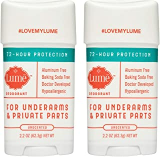 Lume Natural Deodorant - Underarms and Private Parts - Aluminum Free, Baking Soda Free, Hypoallergenic, and Safe For Sensitive Skin - 2.2 Ounce Stick Two-Pack (Unscented)
