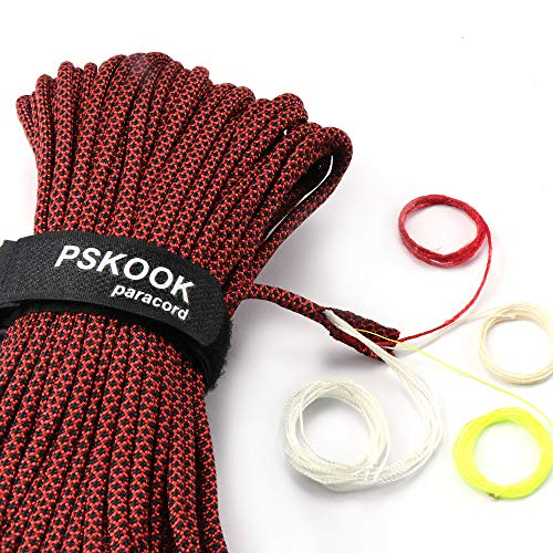 PSKOOK Survival Paracord Parachute Fire Cord Survival Ropes Red Tinder Cord PE Fishing Line Cotton Thread 7 Strands Outdoor 20, 25, 100 Feet (Classic Grid, 100)