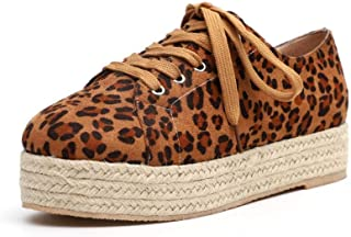 Tmore Flatform Shoes for Women, Espadrilles Lace up Low Cut Animal Printed Slip-on Round Toe Flat Shoes