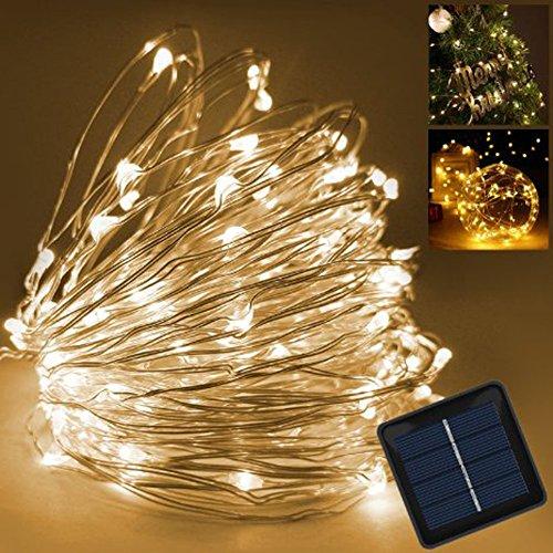Samoleus 150er LED Solar Kupferdraht Lichterkette Warmweiß 15 Meter, Wasserdichte Solar Außen Sternen Lichterketten Beleuchtung für Garten, Wohnungen, Tanzen, Weihnachtsfeier, Schlafzimmer, Fenster