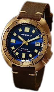 New Bronze Tuna 6105 Diving Watches 200m Water Resistant Genuine Leather Strap Men Automatic Wrist Watches for Male Men