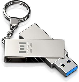 128GB USB 3.1 Flash Drive 300Mb/s Fast Speed and Rugged Metal Thumb Drive with Key Ring USB3.1 128 GB 360-degree Jump Driv...