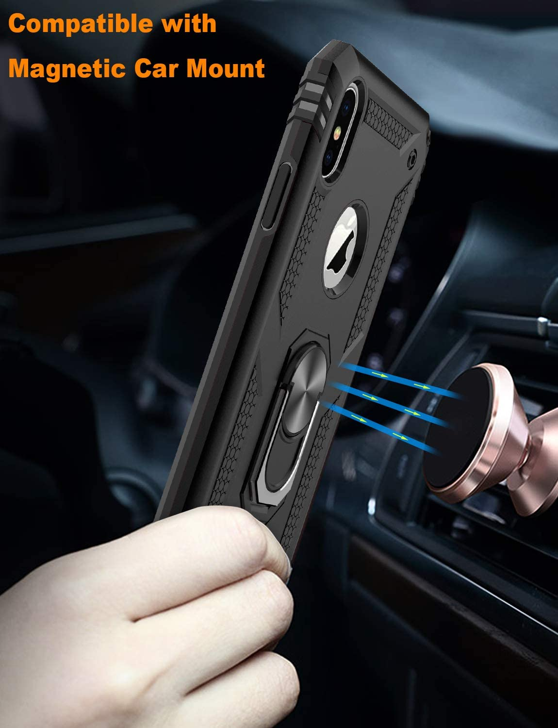 LUMARKE iPhone Xs Max Case with Glass Sreen Protector,Pass 16ft Drop Test Military Grade Cover with Magnetic Kickstand Car Mount Holder,Protective Phone Case for iPhone Xs Max Black