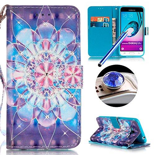 Samsung Galaxy J3(2016) Housse Coque de Téléphone, Etsue Cute Mode Colorful Design Flip Housse PU Cuir Coque Stand Housse de Protection pour Samsung Galaxy J3(2016),Coque est Bookstyle Folio Motif [Fleur de cristal] et Cristal Cloutés pour Samsung Galaxy J3(2016) Joindre 1 x Corde + 1 x Bleu stylet + 1 x Bling poussière plug (couleurs aléatoires)