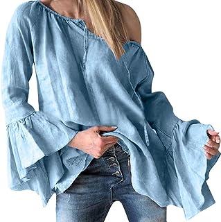 Women One Shoulder T-shirt Blouse Tops ❀ Ladies Solid Ruffles Loose Long Sleeve Tee Shirt Long Tunic Tops