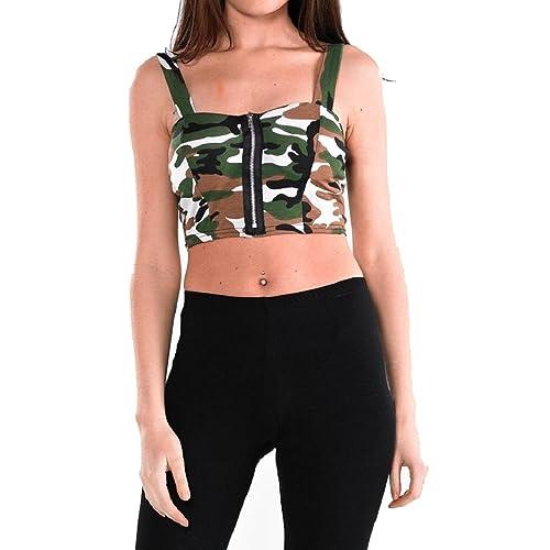 5a2e67f40a Crazy Girls Womens Bra Leopard USA Flag Print Zip Front Padded Bralet Crop  Top